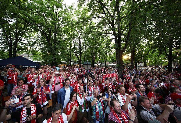 Bayern Munich celebrates winning the Bundesliga