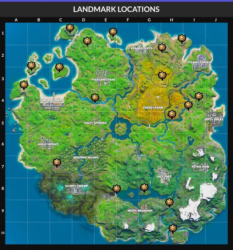 Fortnite Landmark locations.