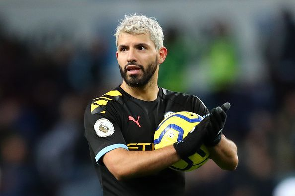 Sergio Aguero, for the 12th time in the Premier League, takes the match ball home