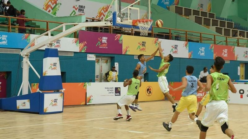 The last day of action in the Basketball competition unfolds in the Khelo India Youth Games 2020