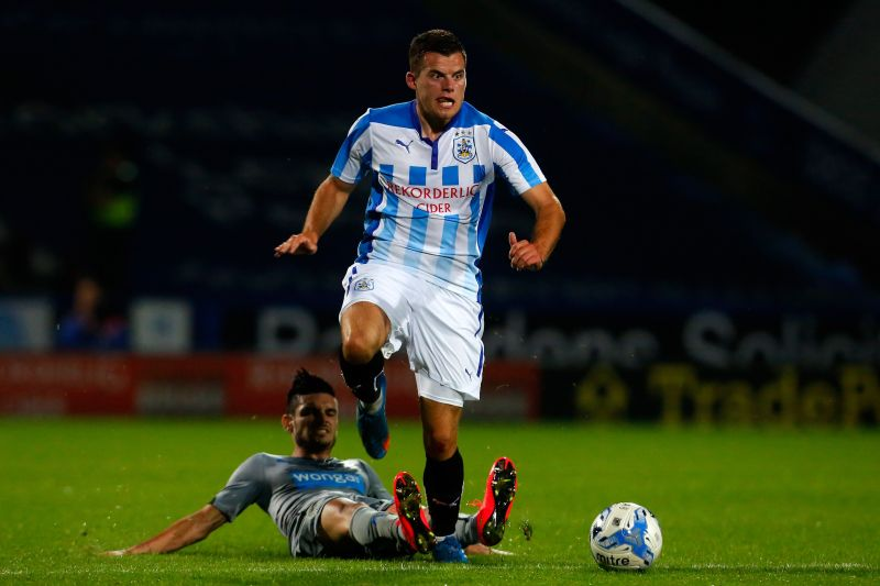 Jordan Sinnott, shown here in action in a match against Newcastle United for Huddersfield Town, has tragically died at the age of 25.