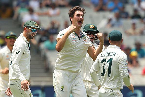 Pat Cummins celebrating an NZ wicket