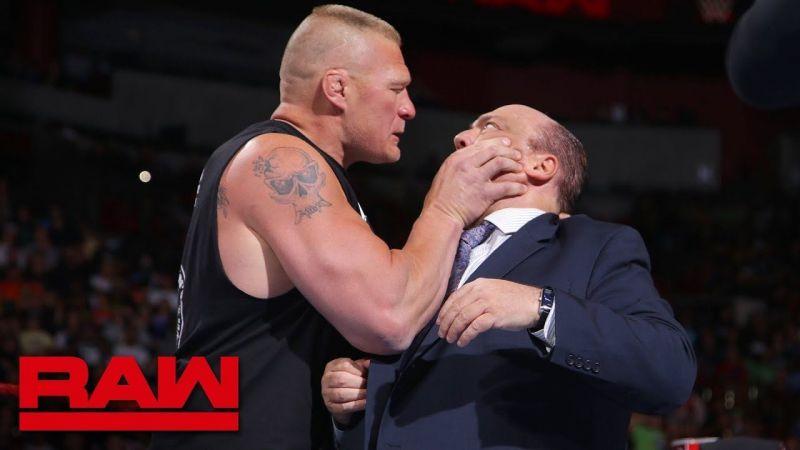 Brock Lesnar grabbing Paul Heyman