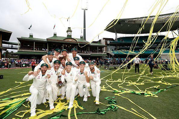 Australian team after winning the series against New Zealand