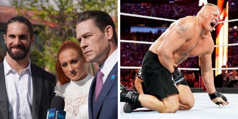 John Cena, Becky Lynch, Seth Rollins (left); Brock Lesnar (right)