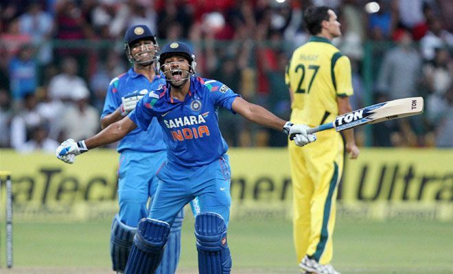 An ecstatic Rohit Sharma celebrates his double hundred