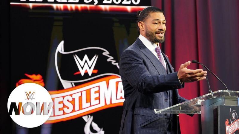 Roman Reigns during the WrestleMania 36 announcement