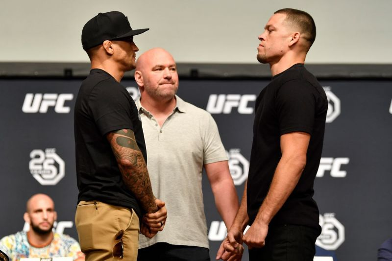 Dustin Poirier facing off with Nate Diaz (Image Courtesy: Bloody Elbow)