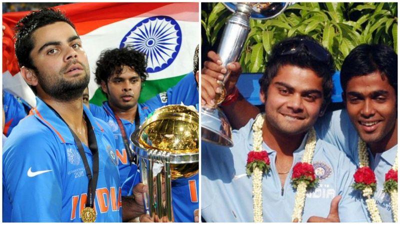 विराट कोहली 2011 और 2008 में वर्ल्ड कप ट्रॉफी के साथ