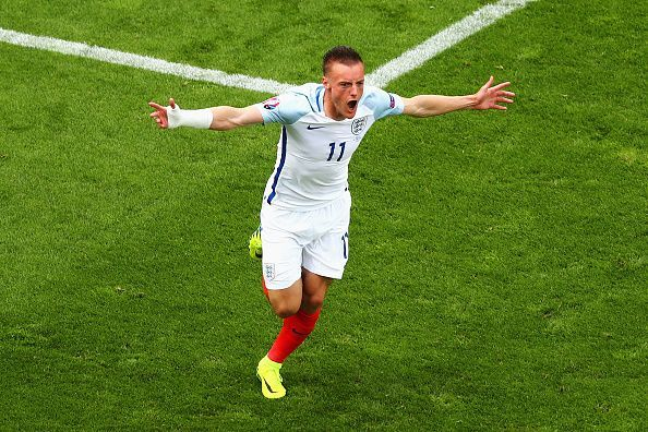 Jamie Vardy in action for England