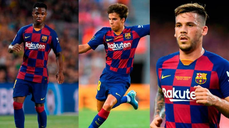 Ansu Fati (left), Riqui Puig (centre), Carles Perez (right) could greatly benefit from Setien