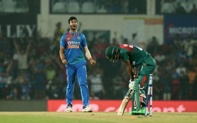 Shivam Dube celebrating after taking a Bangladesh wicket