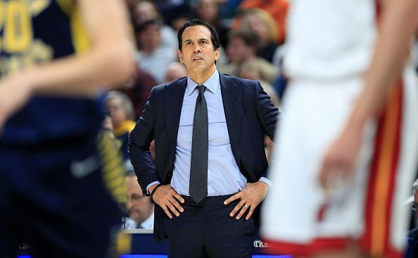 Erik Spoelstra will be hoping for another Heat victory when they take on their East rivals Nets