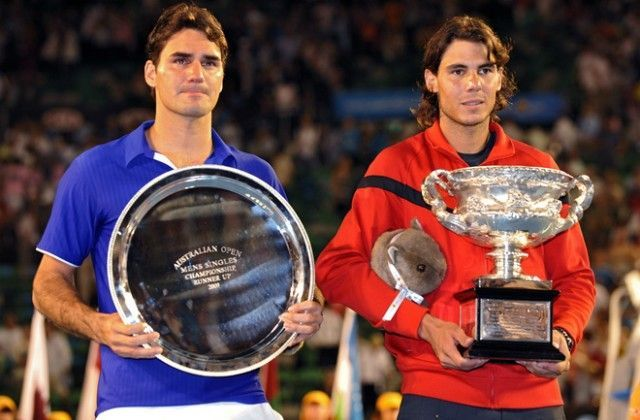 Nadal (right) lifted his first and only Australian Open title in 2009