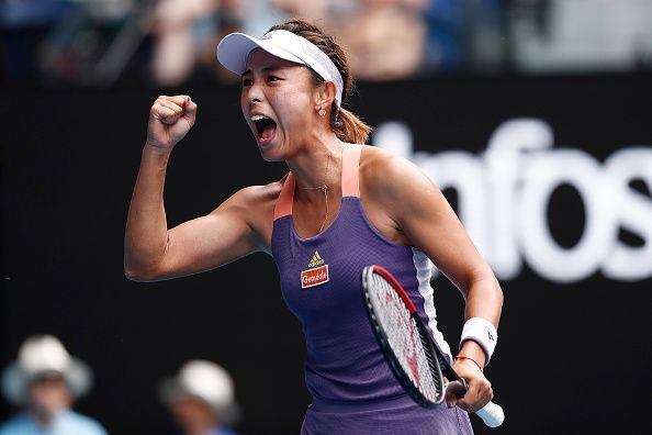 Wang Qiang after securing her victory