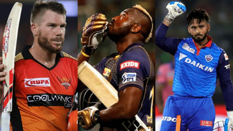 L-R: David Warner, Andre Russell, and Rishabh Pant - three of the best power-hitters currently