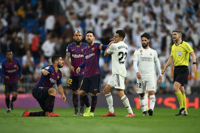 Lionel Messi gets into a spat with Sergio Reguilon