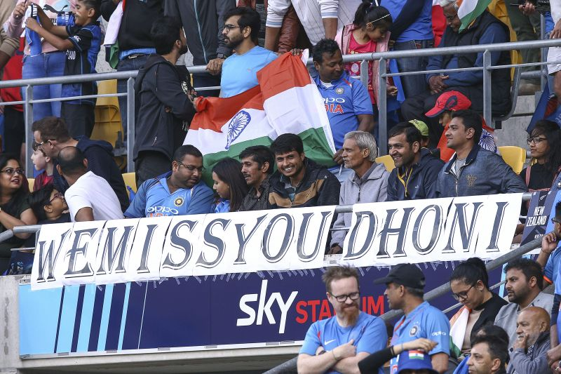 Fan posters for MS Dhoni at the New Zealand v India - T20 match in Wellington