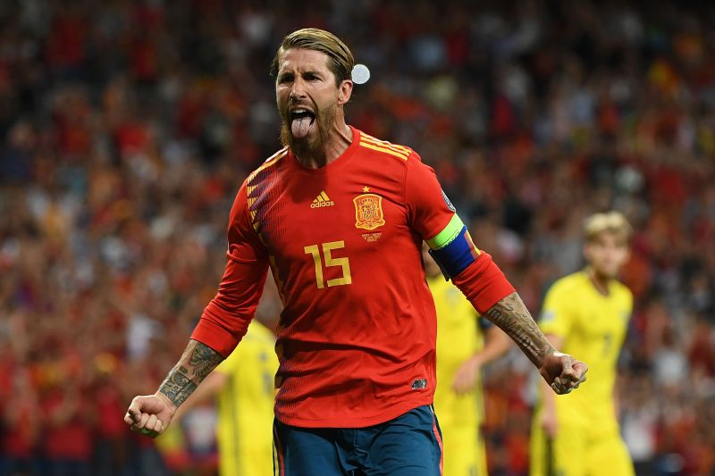 Ramos celebrates in the colours of his country