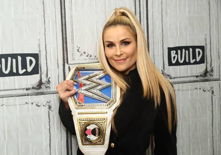 Natalya holding the SmackDown Live Women