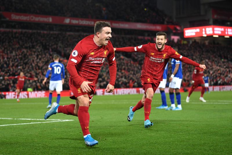 Shaqiri scored his only goal of the season in a 5-2 win in the Merseyside Derby.