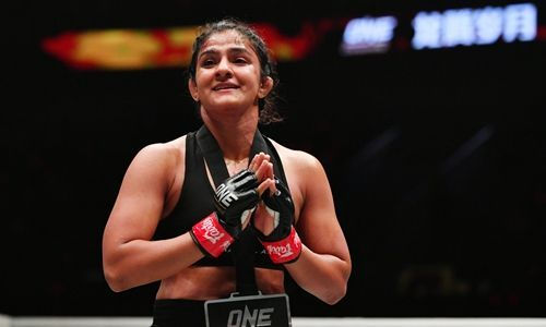 Ritu Phogat after winning her first bout as a professional Mixed Martial Artist