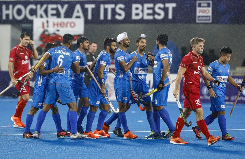 Jubilant Team India players after securing a victory against Belgium