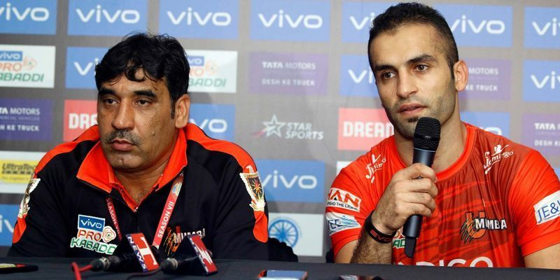 Sanjeev Baliyan (left) coached U Mumba in the seventh season of Pro Kabaddi.