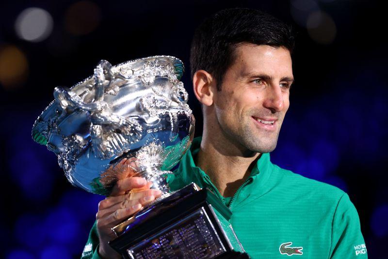 Novak Djokovic with his Australian Open silverware