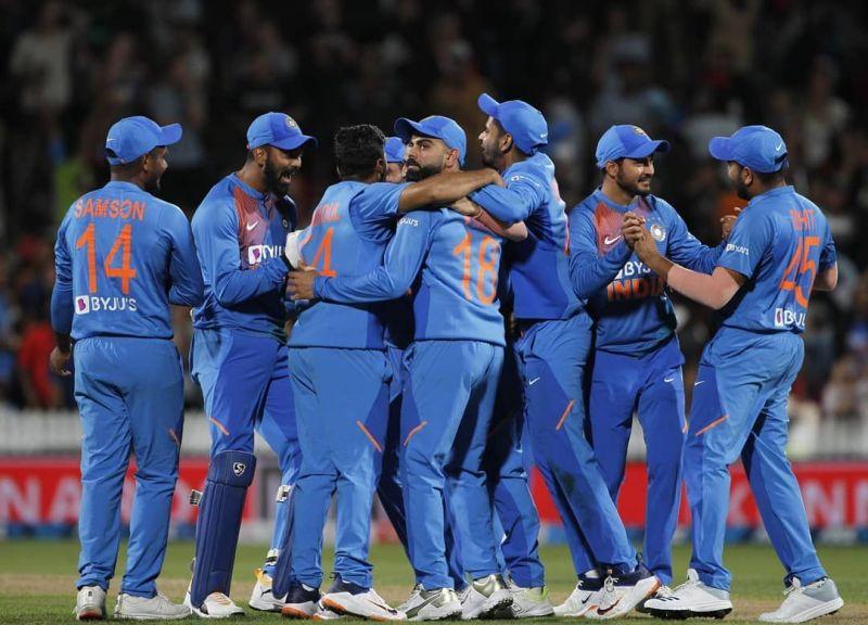 India celebrating victory against New Zealand