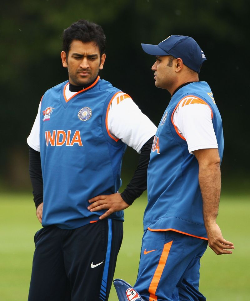 Virender Sehwag (R) and MS Dhoni (L)