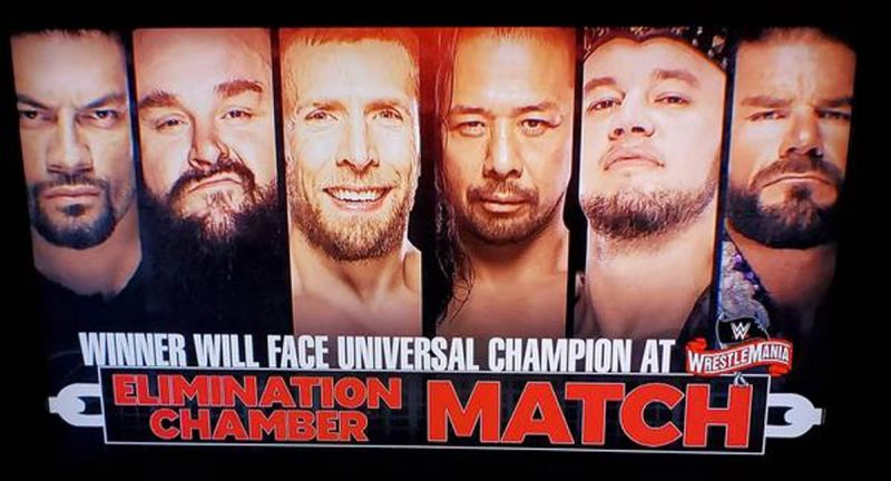 The Elimination Chamber graphic.