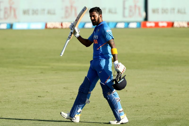 Rahul soaks in the applause after a magnificent knock.
