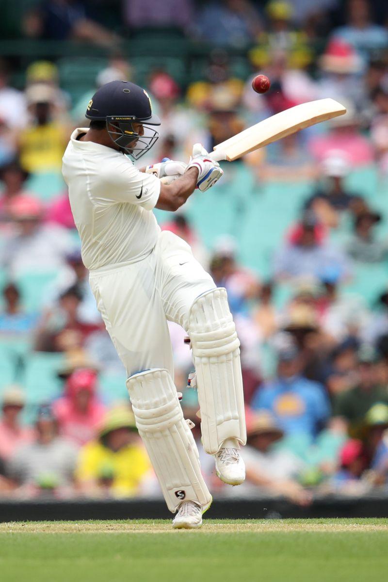 Mayank Agarwal in action against Australia