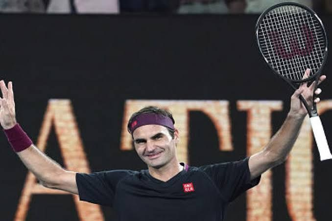 Federer reacts after beating Steve Johnson in the first round of the 2020 Australian Open