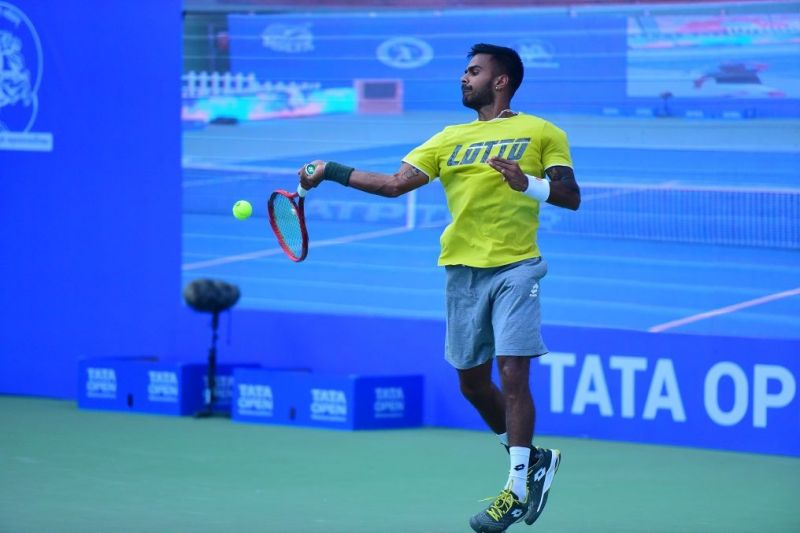 Sumit Nagal during practice on Sunday