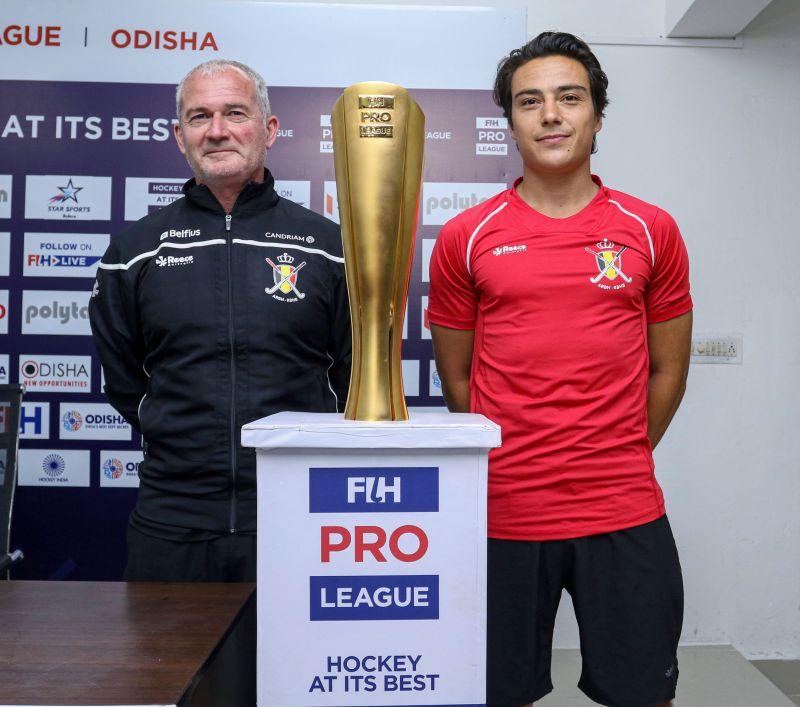 Belgium coach Shane McLeod with captain Thomas Briels