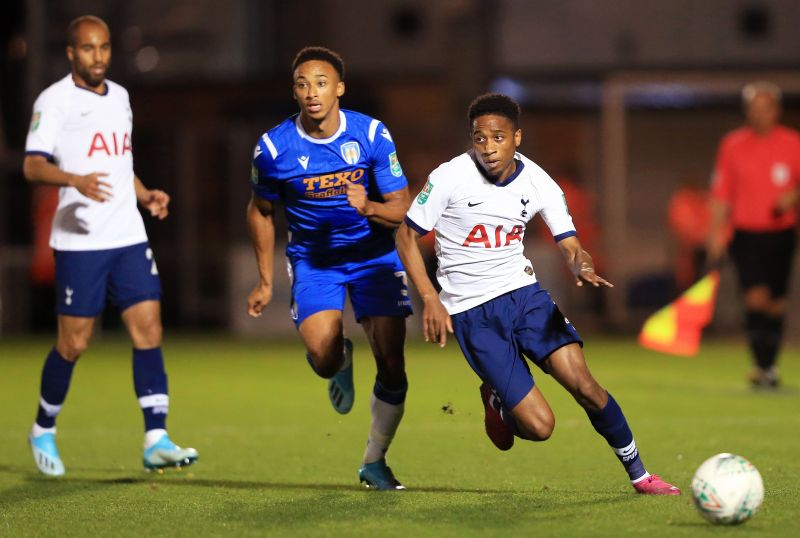 Kyle Walker-Peters against Colchester United in the Carabao Cup third round.