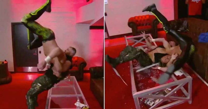 Moxley after DDT-ing Omega through a glass table