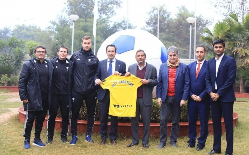 AIFF officials with their Cadiz CF counterpart after rolling out the AIFF Masters Course