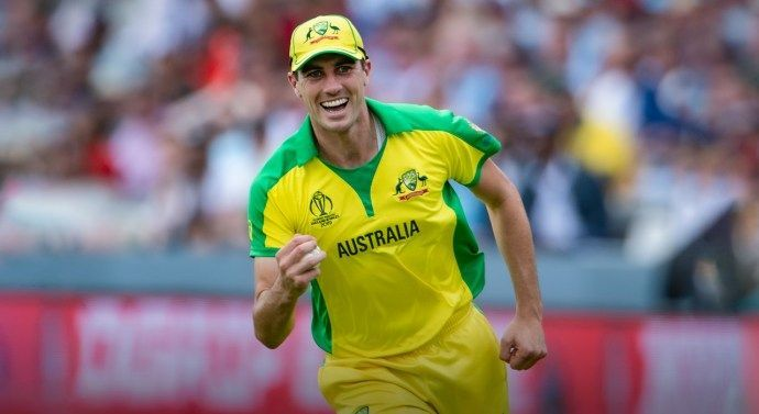 Pat Cummins celebrates for Australia at the 2019 World Cup.
