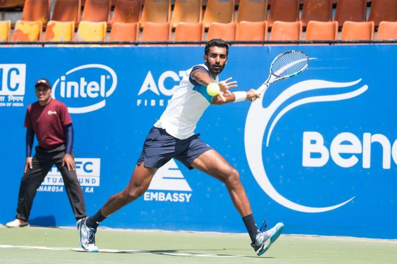 Prajnesh Gunneswaran in action at Bengaluru