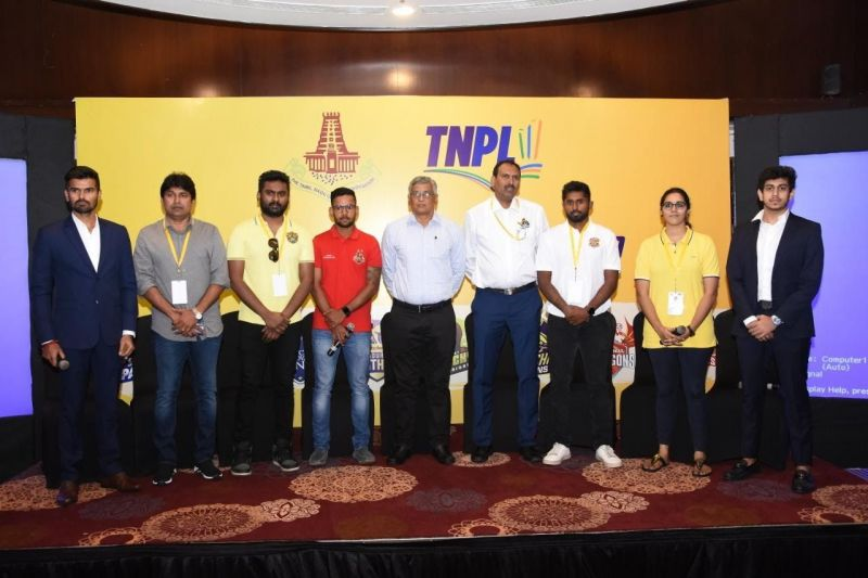 Team representatives with the Honorary Secretary of TNCA Shri. R. S. Ramasamy