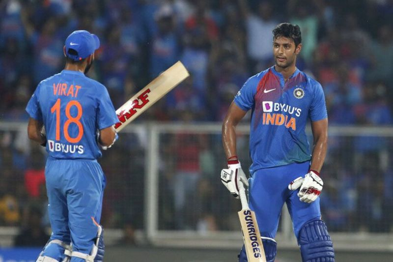 Shivam Dube (right) with skipper Virat Kohli