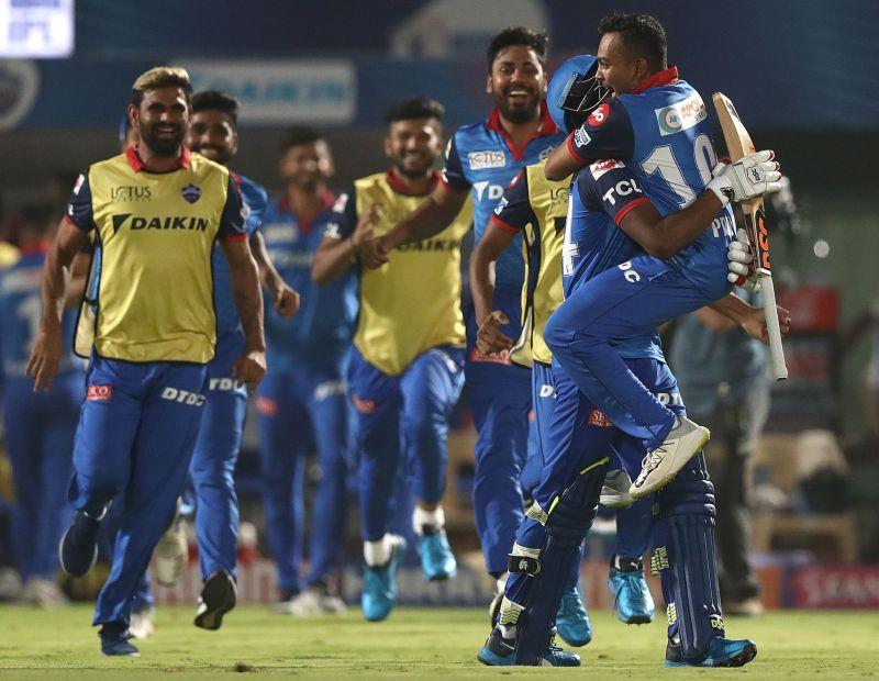 Delhi Capitals players rejoicing after a victory