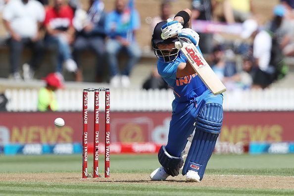 Virat Kohli in action during the first ODI between New Zealand and India