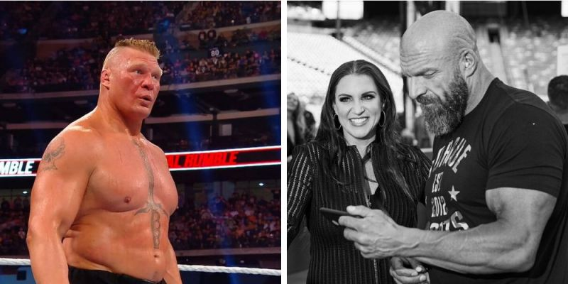 Brock Lesnar (left); Triple H & Stephanie McMahon (right)