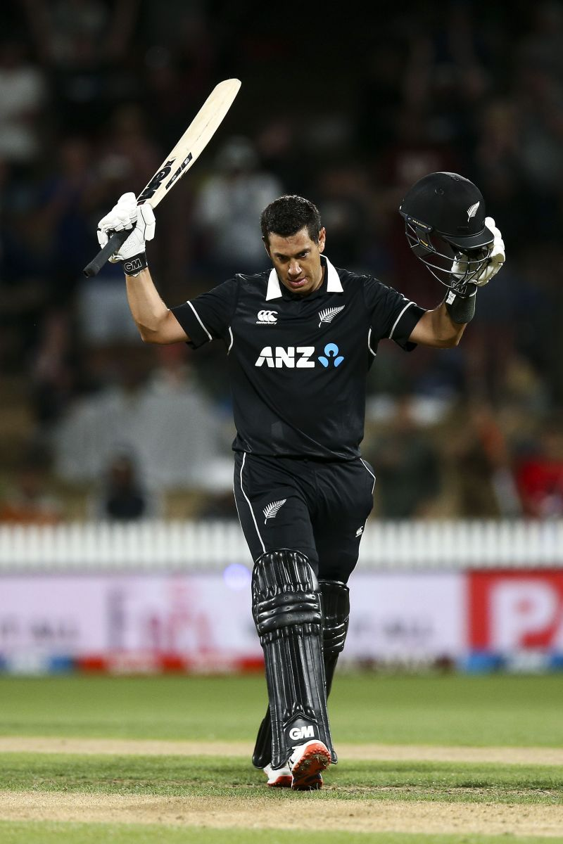 Ross Taylor celebrating his century