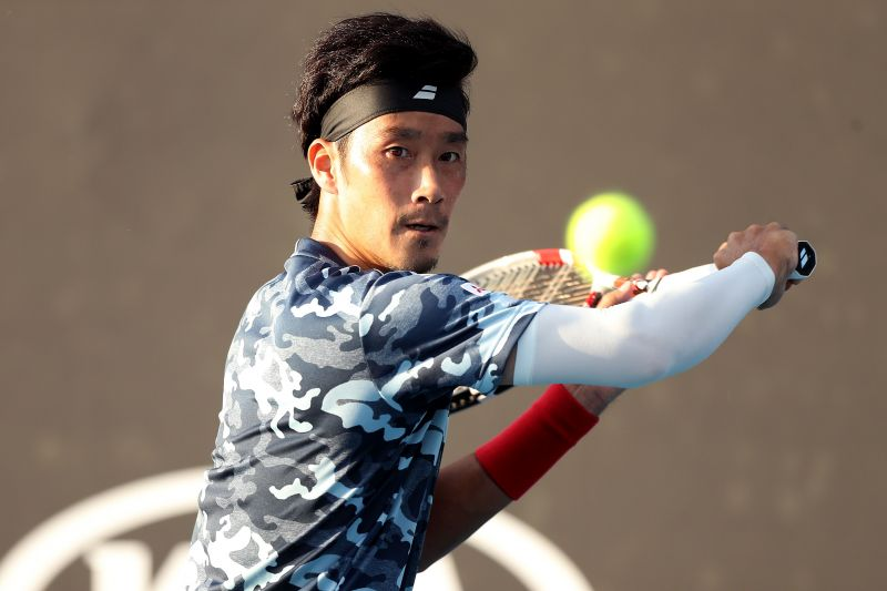 Yuichi Sugita is in action in the quarter-finals today
