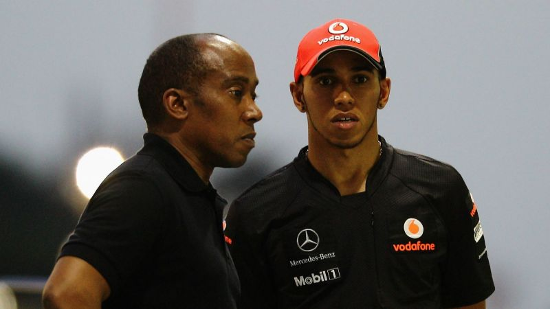 Lewis Hamilton and father Anthony - cropped